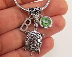 personalized birthstone keychains turtle keychain etsy