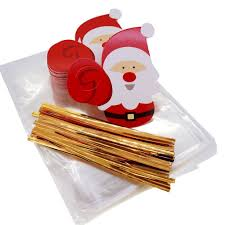 santa claus christmas tags with cello treat bags for cookie