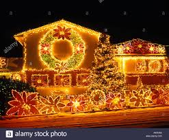 House Christmas Lights by House Christmas Lights Decorations Glowing Stock Photos U0026 House