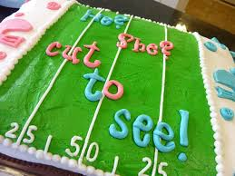 gender reveal cake and fantasy football party kid stuff