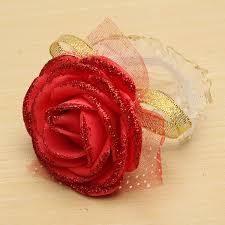 Red Rose Wrist Corsage Bridal Bridesmaid Foam Artificial Rose Flower Elastic Band Wrist