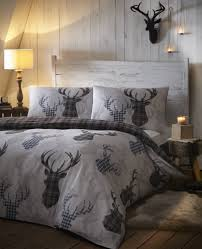 tartan check stag rein deer duvet quilt cover double bedding bed