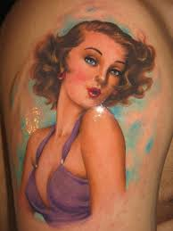 vintage in purple dress pin up tattoo by riccardo cassese