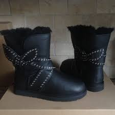 womens sheepskin boots size 11 ugg s mabel black leather grommet bailey bow sheepskin boots