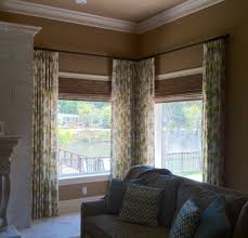 Windows Design Corner Glass With Brown Color Shades Floral Pattern - Family room window ideas