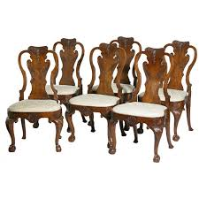 Queen Anne Dining Room Furniture by Set Of Six Carved Walnut Queen Anne Side Chairs England For Sale