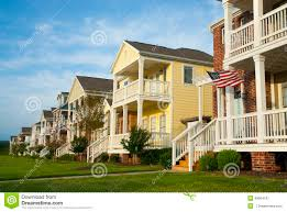 American House Flag Row Of Houses In A Mid America Suburb Stock Image Image 46064197