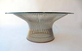 Wire Coffee Table Warren Platner For Knoll Chrome Wire Coffee Table Mid Century