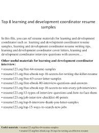 Volunteer Coordinator Resume Sample by Top 8 Learning And Development Coordinator Resume Samples 1 638 Jpg Cb U003d1431565471