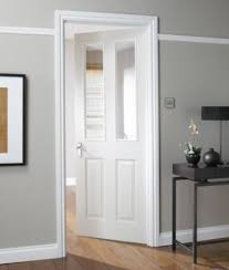 Interior Doors With Glass Panel B Q 4 Panel White Smooth Glazed Door Could Match Our