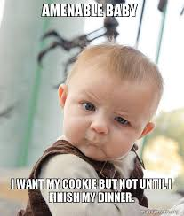 I Want A Baby Meme - amenable baby i want my cookie but not until i finish my dinner