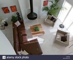 Modern Living Room With Fireplace Images Birds Eye View Of Modern Living Room With Leather Corner Sofa And