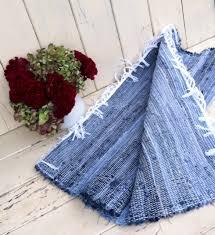 handmade amish blue jean rag rug cabin chic throw rug loom made