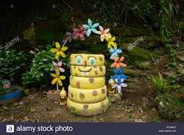 caribbean decorations garden decorations made out of recycled objects stock