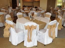 White Chair Covers Wholesale Rustic Wedding With Burlap Chair Sashes And Burlap Runners
