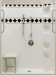 60 x 34 shower stall has curbless threshold usa made