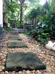 Tropical Rock Garden Landscape Small Rocks Small Front Yard With River Rocks