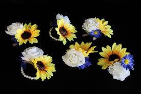 sunflower corsage rustic sunflower wrist corsage detail wedding design