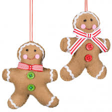 4 5 felt gingerbread ornaments set of 2 3714101 craftoutlet