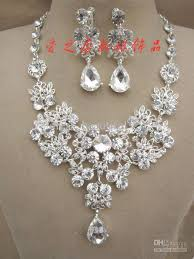 necklace rhinestone images Rhinestone necklace earring set bridal wedding party jewelry jpg