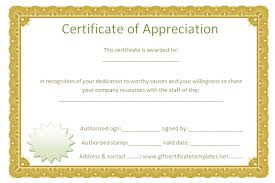 sample text for certificate of appreciation golden border certificate of appreciation free certificate