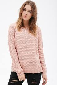 forever 21 popcorn knit sweater in pink lyst