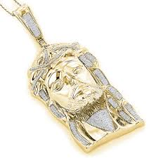 necklace gold jesus images Sterling silver diamond jesus face pendant 1 75ct gold plated jpg