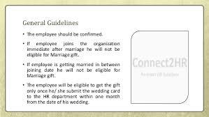 wedding gift guidelines employee marriage gift policy