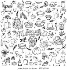 doodle thanksgiving icons set stock vector 450147388