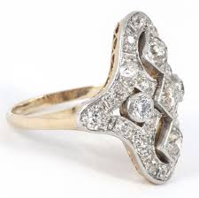 gold platinum rings images Art deco diamond gold platinum ring antique jewellery uk jpeg