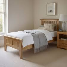 bevel single bed in natural solid oak oak furniture land
