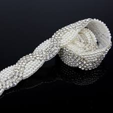 online buy wholesale rhinestone pearls trim from china rhinestone 1 yard luxurious sliver rhinestone pearl trim applique rhinestone appliques for clothes accessories wedding dress sewing