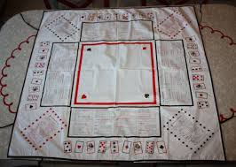 card game table cloth very vintage vinyl bridge instructional table cover tablecloth