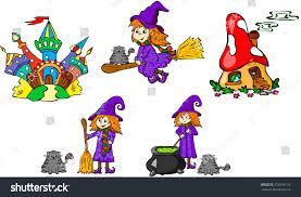 set witches castles vector illustration children stock vector