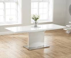 Gloss Dining Tables Amsterdam White Glass And Gloss Extending Dining Table 6 Within
