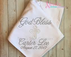 Baptism Blanket Personalized Personalized Baptism Blanket Christening Blanket