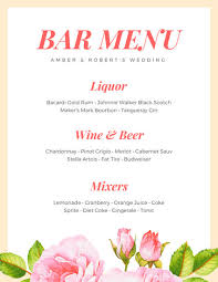 wedding bar menu template floral wedding bar menu templates by canva