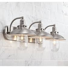 Bathroom Light Fixture Allen Roth Hainsbrook 3 Light 7 48 In Antique Pewter Cone Vanity