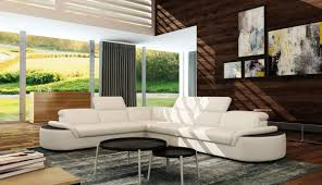 Modern White Bonded Leather Sectional Sofa Casa 5122 Modern White U0026 Black Bonded Leather Sectional Sofa