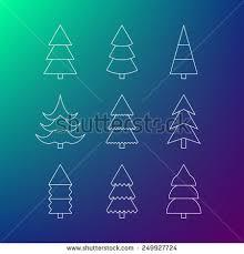 thin line icon set christmas trees stock vector 249474538