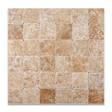 walnut travertine 4 x 4 tumbled field tile 4 pcs sample set