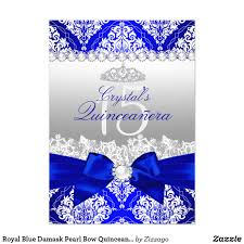 Quinceanera Invitation Cards Royal Blue Damask Pearl Bow Quinceanera Invite Royal Blue