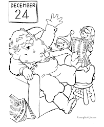 santa elves christmas coloring pages