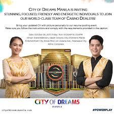 Casino Dealer Resume City Of Dreams Manila Is Inviting City Of Dreams Manila