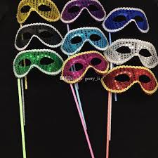 masks for masquerade new simple party masks stick sequin handheld mask