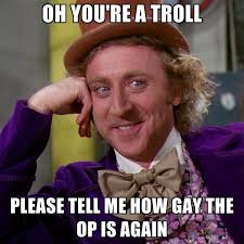 Op Meme - oh you re a troll please tell me how gay the op is again create meme
