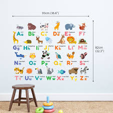 colourful animal alphabet wall stickers