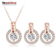 earring necklace sets images Lzeshine rose gold color women necklace earring jewelry sets jpg