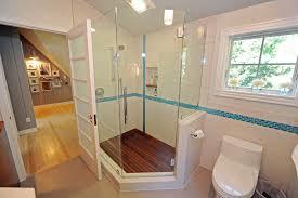 wood shower floor bathroom contemporary with concrete floor glass