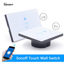 remote control on off light switch sonoff wifi switch wall touch switch wireless remote control eu us
